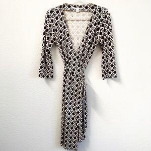 DVF New Julian Two Wrap Dress Silk Geometric Sz 10